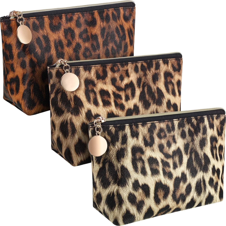 3 Piezas Bolsa de Maquillaje de Leopardo Guepardo Bolsa de Cosméticos Organizador de Maquillaje con Patrón de Leopardo Vintage con Cremallera Bolsa de Aseo de Viaje para Mujeres, 3 Colores