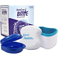 Retainer Brite, Cleaner Bath & Case ~ Cleaning Tablets, Glitter or Plain Box (Blue Bath, Blue Case)