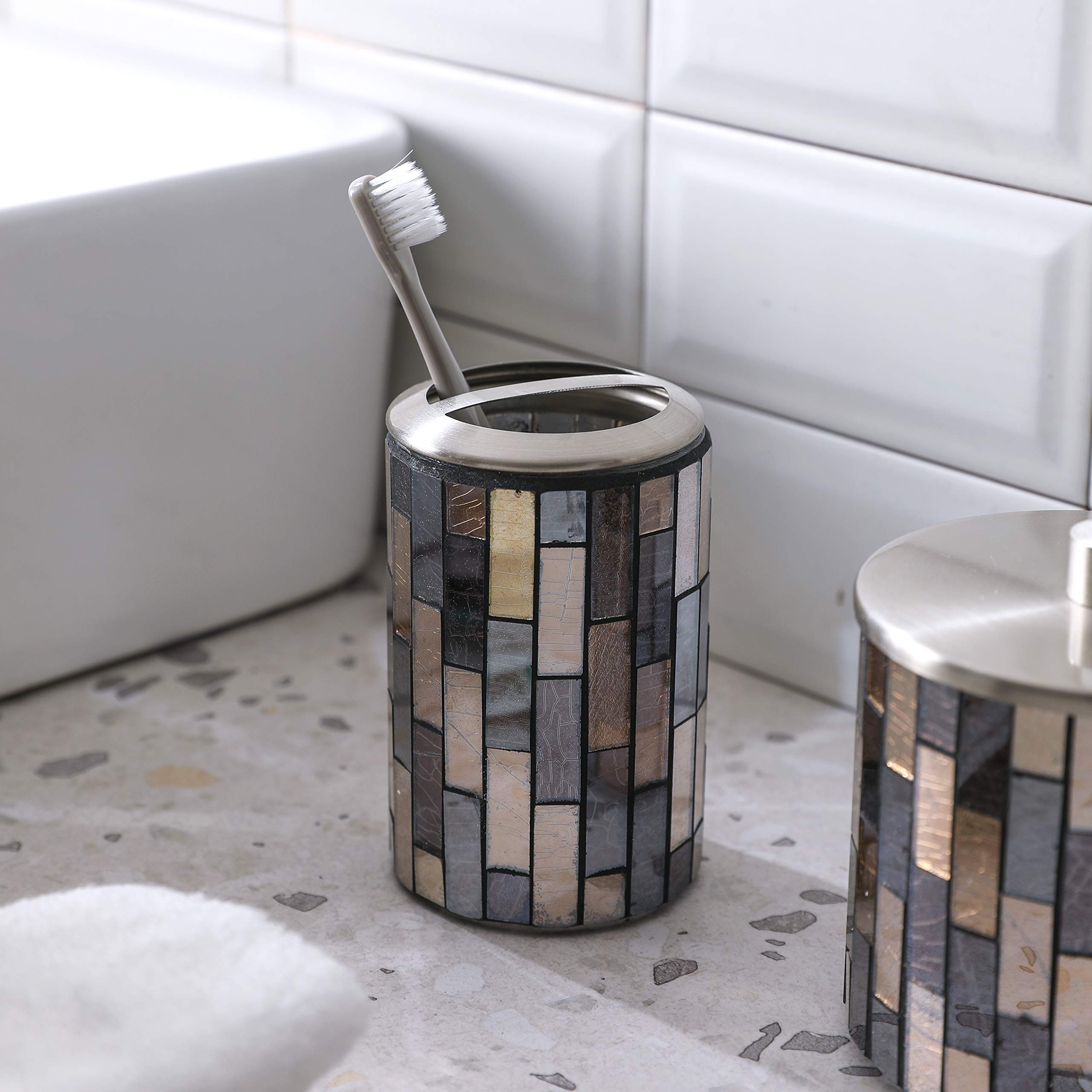 Whole Housewares Bathroom Accessory Sets Black Gold Mosaic Glass Bathroom Accessories Black Gold 1 Buy Online In Bosnia And Herzegovina At Bosnia Desertcart Com Productid 180005508