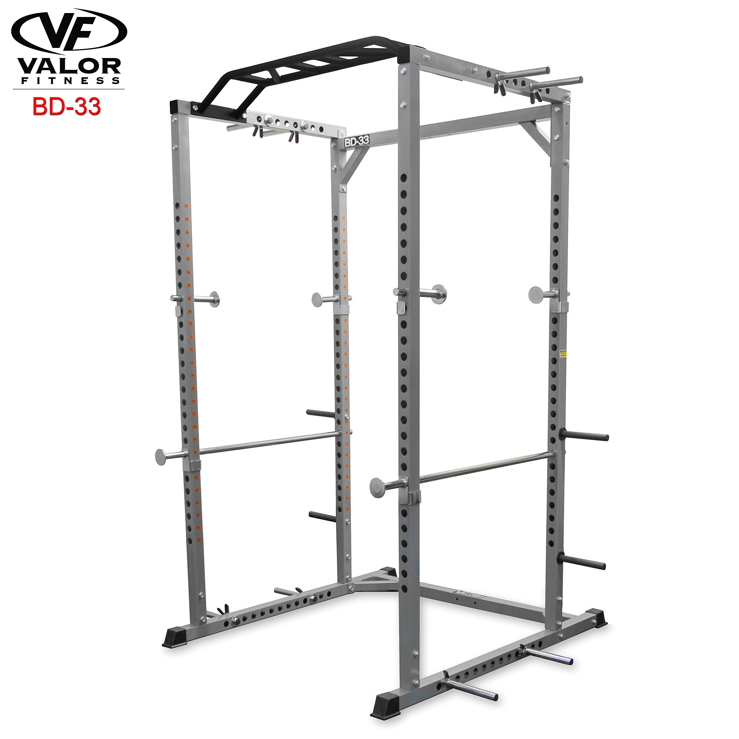 Valor Fitness BD-33 Heavy Duty Power Cage with Band Pegs and Multi-Grip Chin-Up …