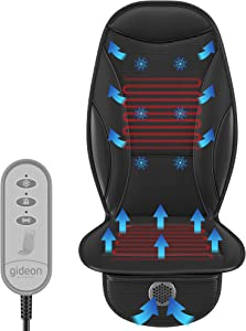 Gideon Car Seat Massager with Heating and Cooling Luxury Seat Cushion Cover Includes 12V Cigarette Lighter Power and Temperature and Massage Controller