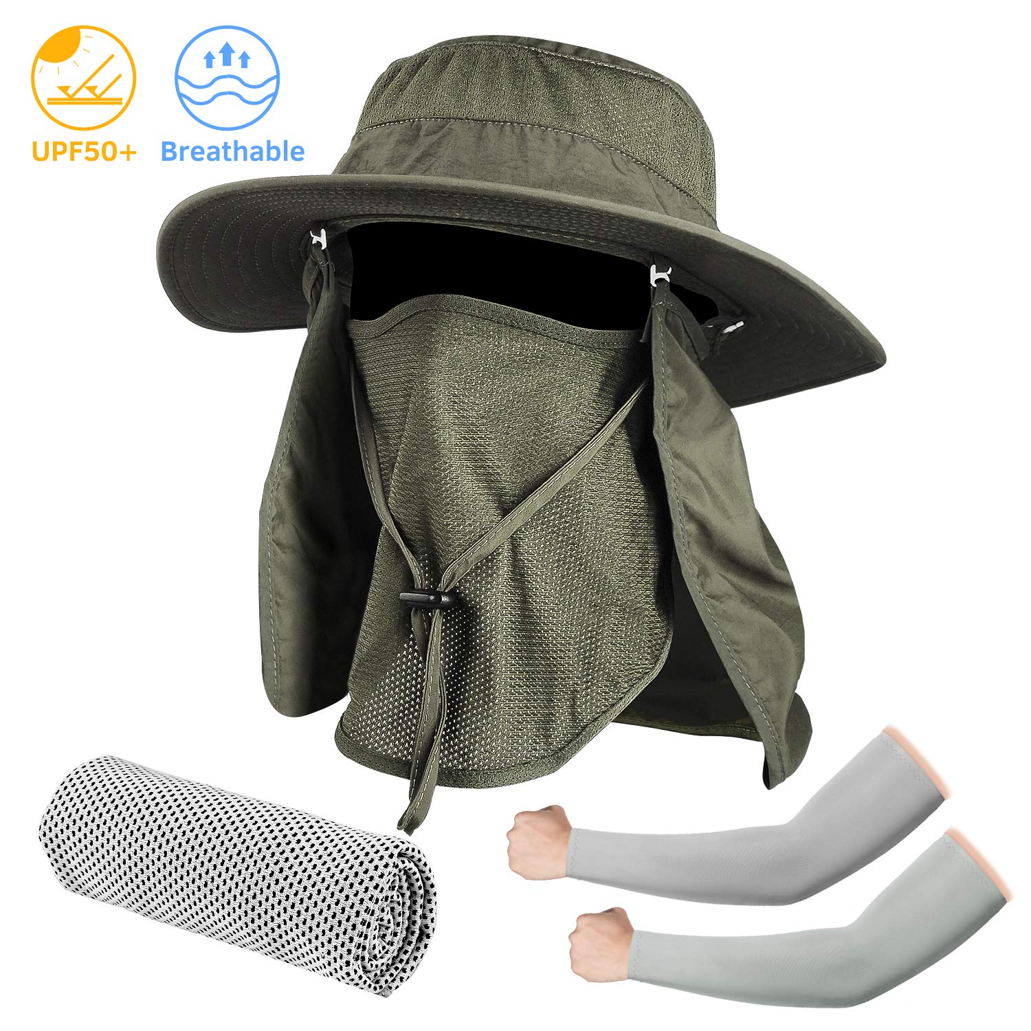 Seektop Fishing Hat, Men Women UPF 50 Protection Outdoor Sun Hiking Hat with Removable Neck Flap and Face Cover Mask -Kit Include Cooling Arm Sleeves, Cooling Towel