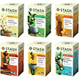 Stash Tea Organic Tea Six Flavor Assortment, 18 Count Tea Bags in Foil (Pack of 6)