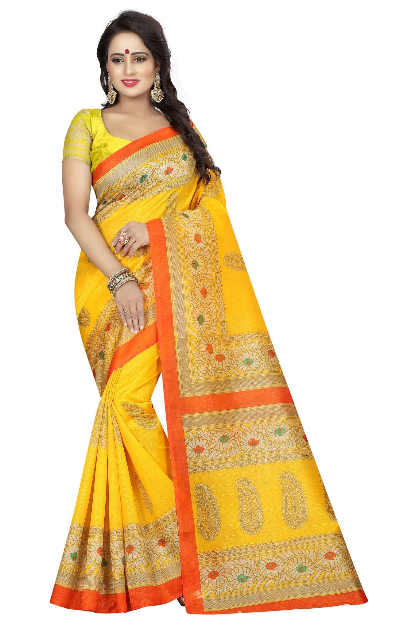Shonaya Women`S Bhagalpuri Silk Printed Saree with Unstitched Blouse Piece (Yellow) by Shonaya (Image #1)