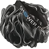 Loofah Charcoal Bath Sponge XL 75g Set by Shower Bouquet: 4 Pack, Extra Large Mesh Pouf Soft Scrubber for Men and Women - Exf