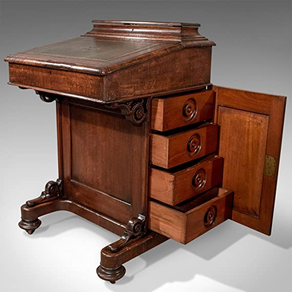 London Fine Antiques Victoriano Antiguo Davenport, Escritorio, Mesa de Roble Inglés Circa 1870: Amazon.es: Hogar
