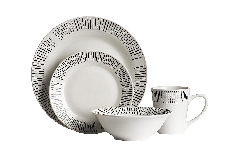 Premier Housewares Lines Dinner Set - Orange, 16 Pieces 0722738