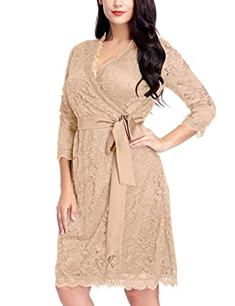 Grapent Womens Plus Size Bleached Almond Floral Lace 34 Sleeves