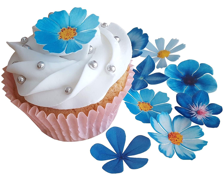 Pre Cut Beautiful Blue Flowers Edible Ricewafer Paper Pre Cut