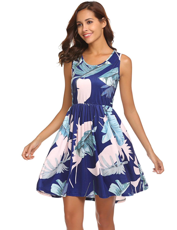 bluee POGTMM Women's Casual Long Sleeve Aline Shift T Shirt Dress Lace Hem Knitted Sweater Dress