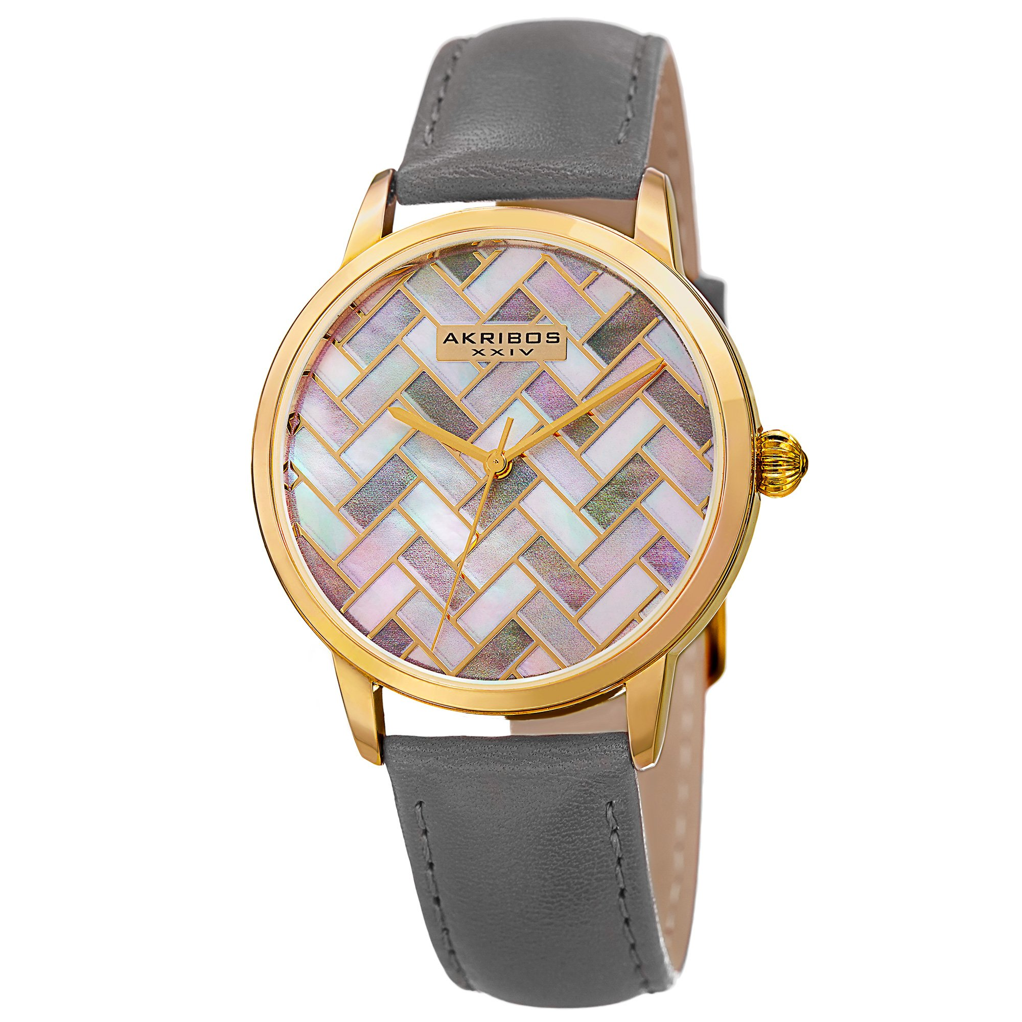 Akribos XXIV Women's Gold-Tone Mother-of-Pearl Mosaic Dial with Grey Glove Style Genuine Leather Strap Watch AK906GY by Akribos XXIV