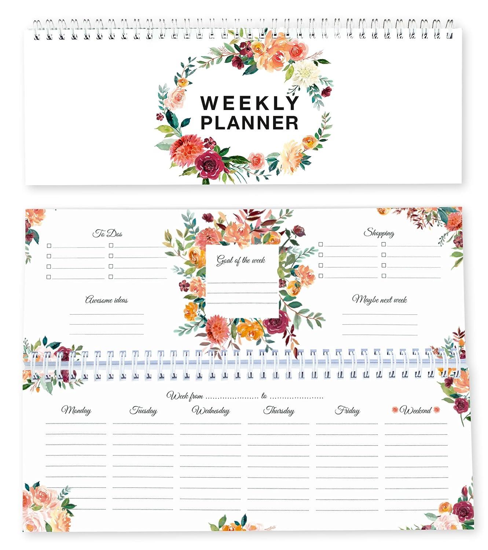 Local & Urban 0674376697425 - Agenda settimanale con fiori, senza data
