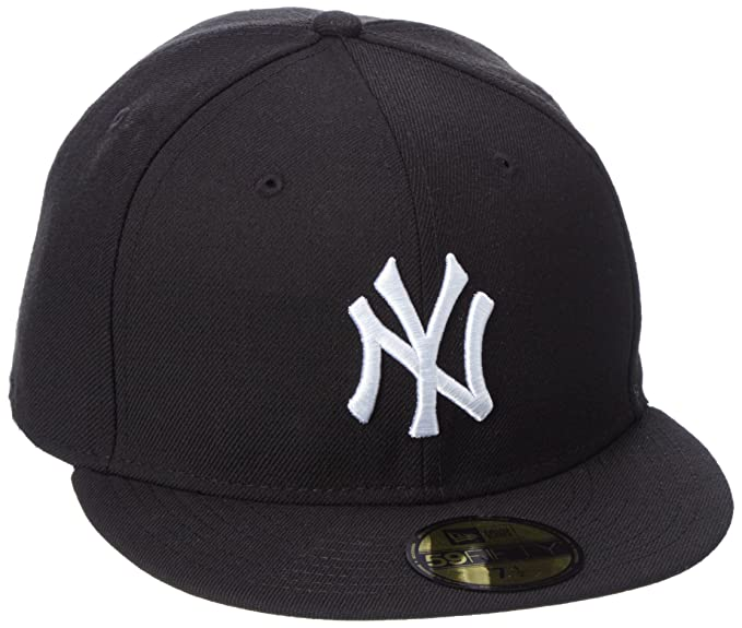 New Era New York Yankees Cap Black White 59fifty Basic Fitted Basecap 5950  MLB 7df1fc35e4e