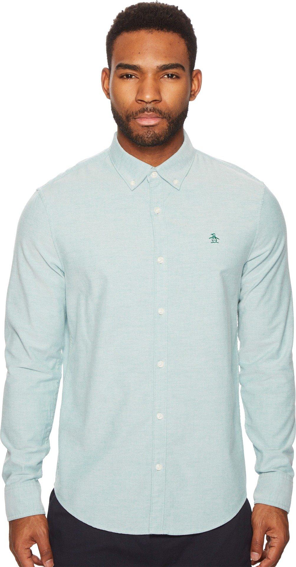 Original Penguin Men's New Long Sleeve Oxford Stretch Shirt, Shady Glade, Extra Large