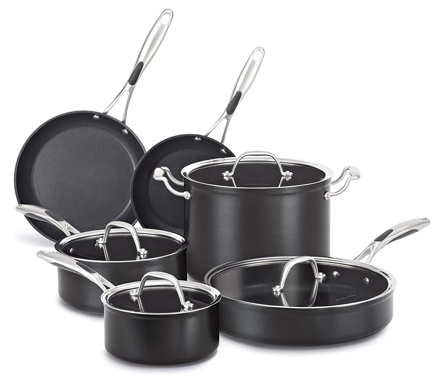 KitchenAid KCH1S10KD Hard Anodized Nonstick 10-Piece Cookware Set - Black Diamond