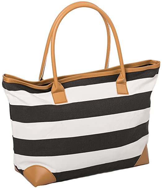"22eb4ce2b Beach Bag Canvas Tote Bags Striped Summer Nautical Tote Shopper for Ladies  size 18"" x"