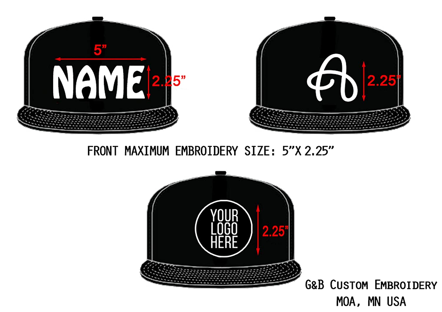 95b93e2655ac0 Amazon.com  Yupoong Custom Hat. 6089M Snapback. Embroidered. Place Your Own  Text or Company Name (Black)  Clothing