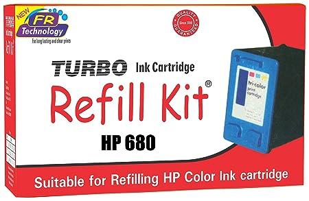 Turbo Ink Cartridge Refill Kit for HP 680 multi coIour Inks, Toners   Cartridges
