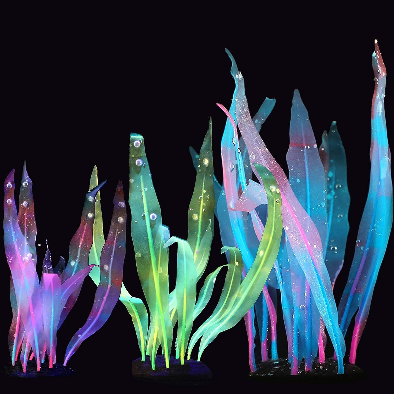 Artificial Aquarium Plants Tall Fish Tank Plant Decorations Glow Fish Tank Decorations Glowing Aquarium Decorations Fish Tank Decor Silicone Aquarium Decor Kelp Seaweed