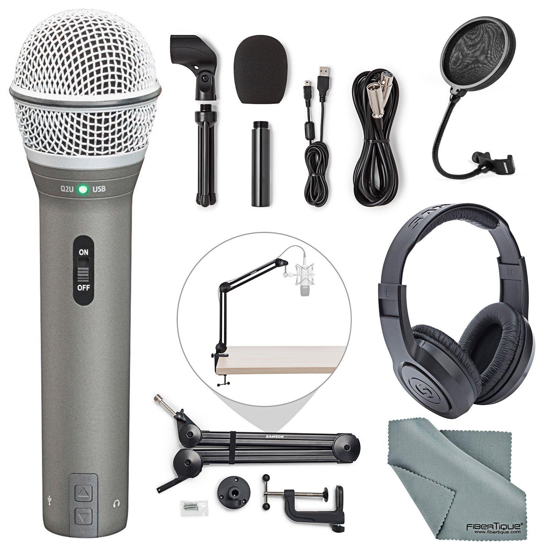 Samson Q2U Dynamic USB Microphone Podcasting Pack and Accessory Bundle with Boom Arm + Headphones + Pop Filter + Fibertique Cloth