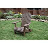 WEATHERED WOOD-POLY LUMBER Folding Adirondack Chair with Rolled Seating Heavy Duty EVERLASTING Lifetime PolyTuf HDPE - MADE IN USA - AMISH CRAFTED