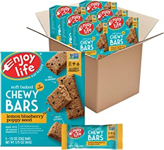 product image for Enjoy Life Chewy Bars, Lemon Blueberry Poppyseed Nut Free Bars, Soy Free, Dairy Free, Non GMO, Gluten Free, 6 Boxes (30 Total Bars)