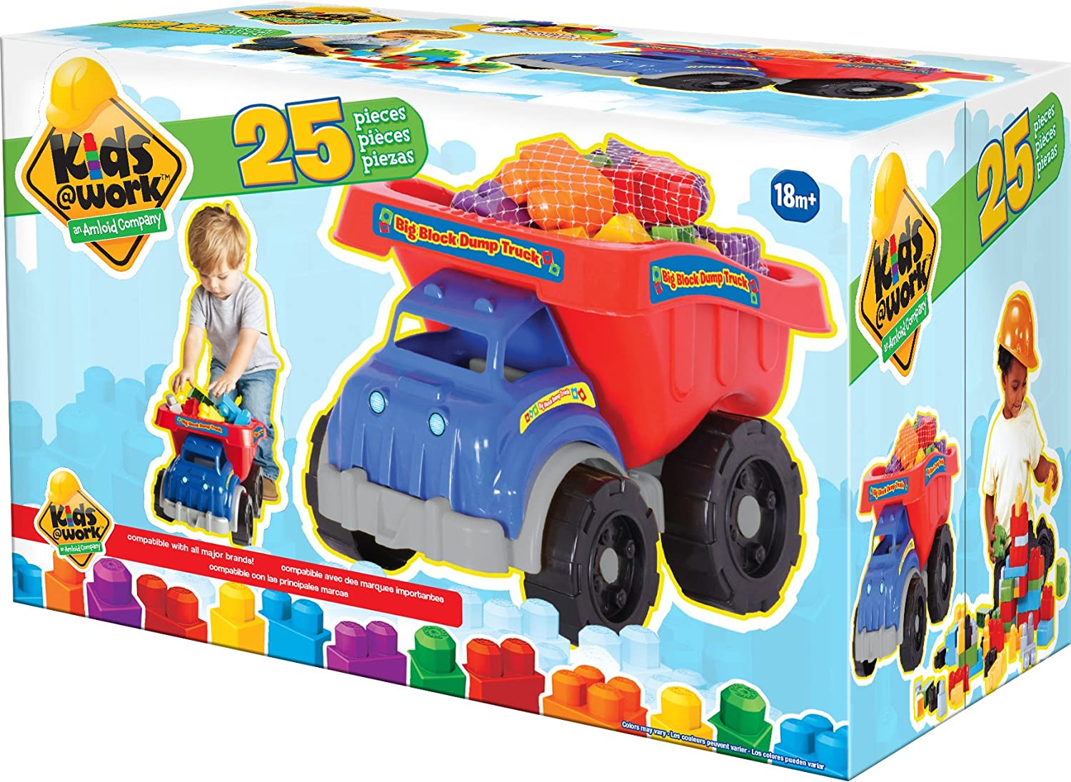 amazon com amloid kids at work dump truck with blocks playset