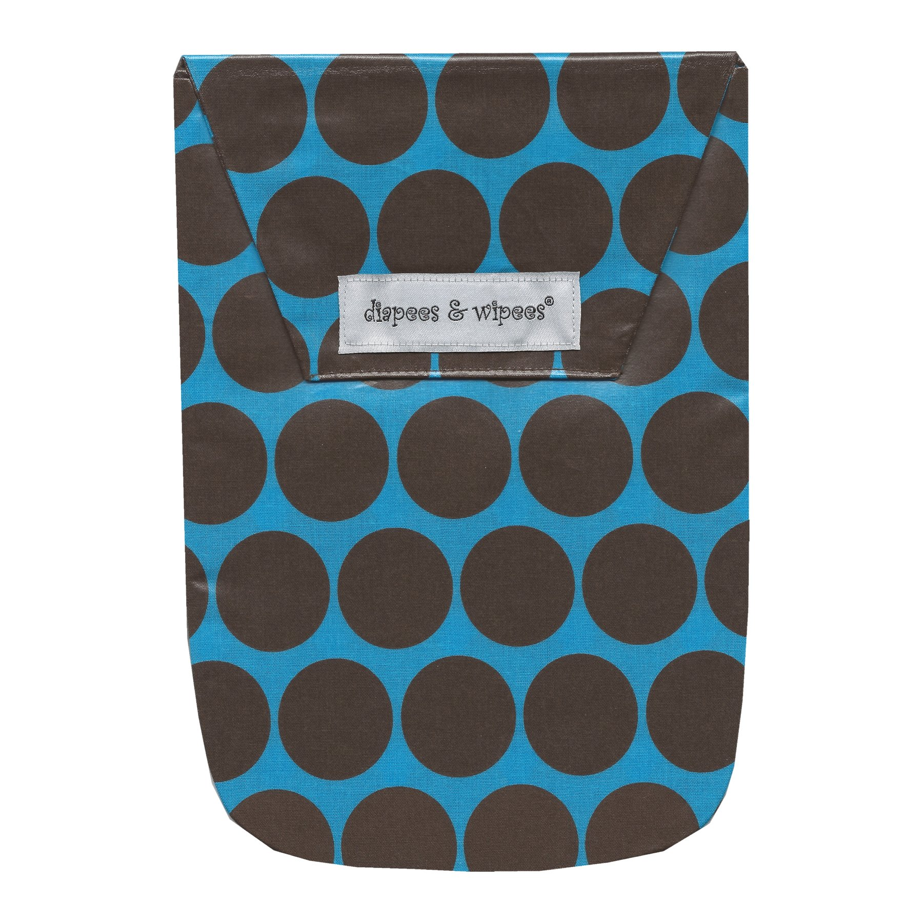 Diapees & Wipees Laminated Bag w/Wipes Case - Blue Polka Dots