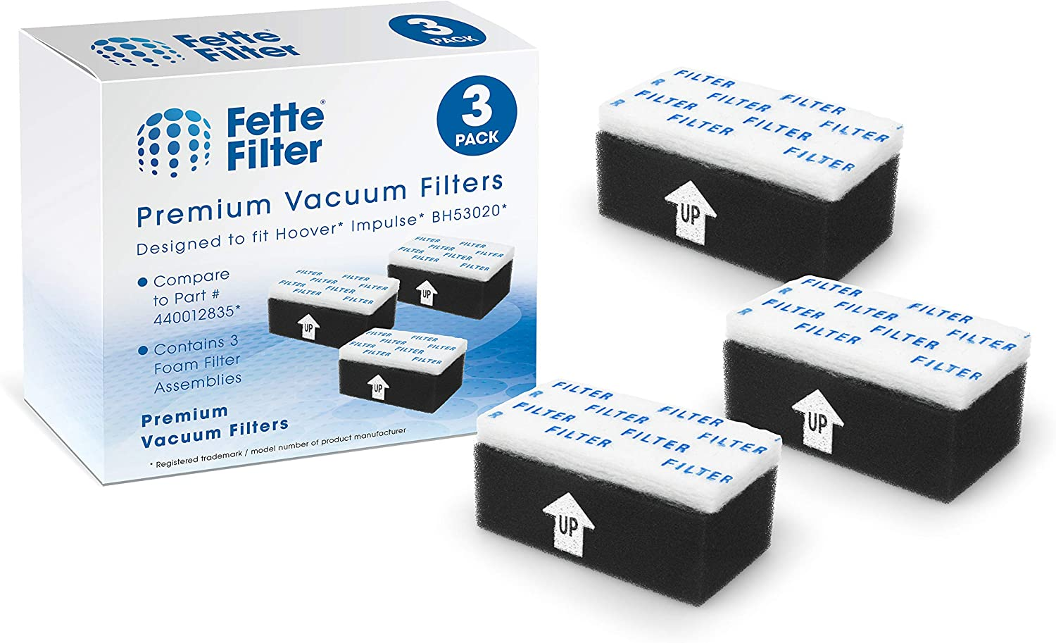 Fette Filter - Vacuum Foam Filter Assembly Compatible with Hoover Impulse Cordless Vacuum BH53020. Compare to Part # 440012835. 3 Pack