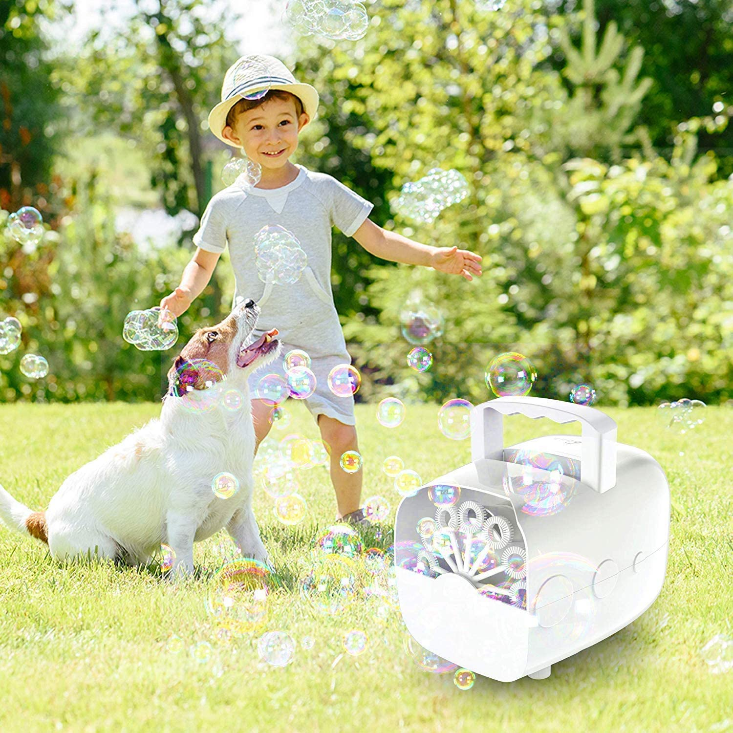 JanTeel Portable Auto Bubbles Maker White Bubble Machine 1500 Bubbles Per Minute for Outdoor//Indoor Use Batteries NOT Included Rechargeable Automatic Bubble Blower With USB Cable