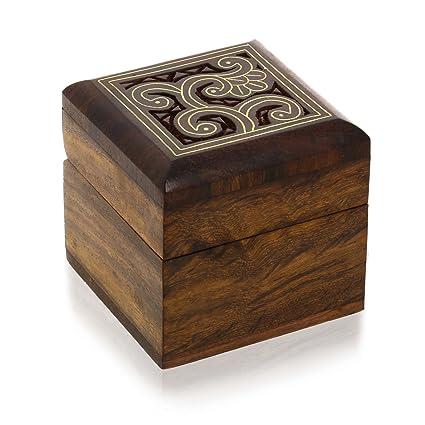 ShalinIndia Caja de Madera pequeña para joyería Anillos aretes Gemelos Regalos Anillos de pie
