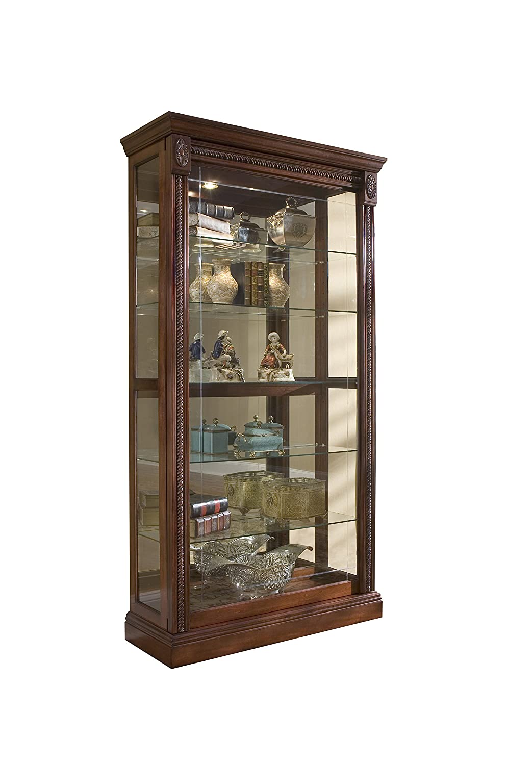 Amazon.com Pulaski Two Way Sliding Door Curio 43 by 17 by 80-Inch Medallion Cherry Finish Brown Kitchen u0026 Dining  sc 1 st  Amazon.com & Amazon.com: Pulaski Two Way Sliding Door Curio 43 by 17 by 80-Inch ...