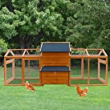 Kinbor Extra Large Wooden Chicken Coop Rabbit Bunny Hutch with Large Run Area, Hen House Poultry Cage with Removable…
