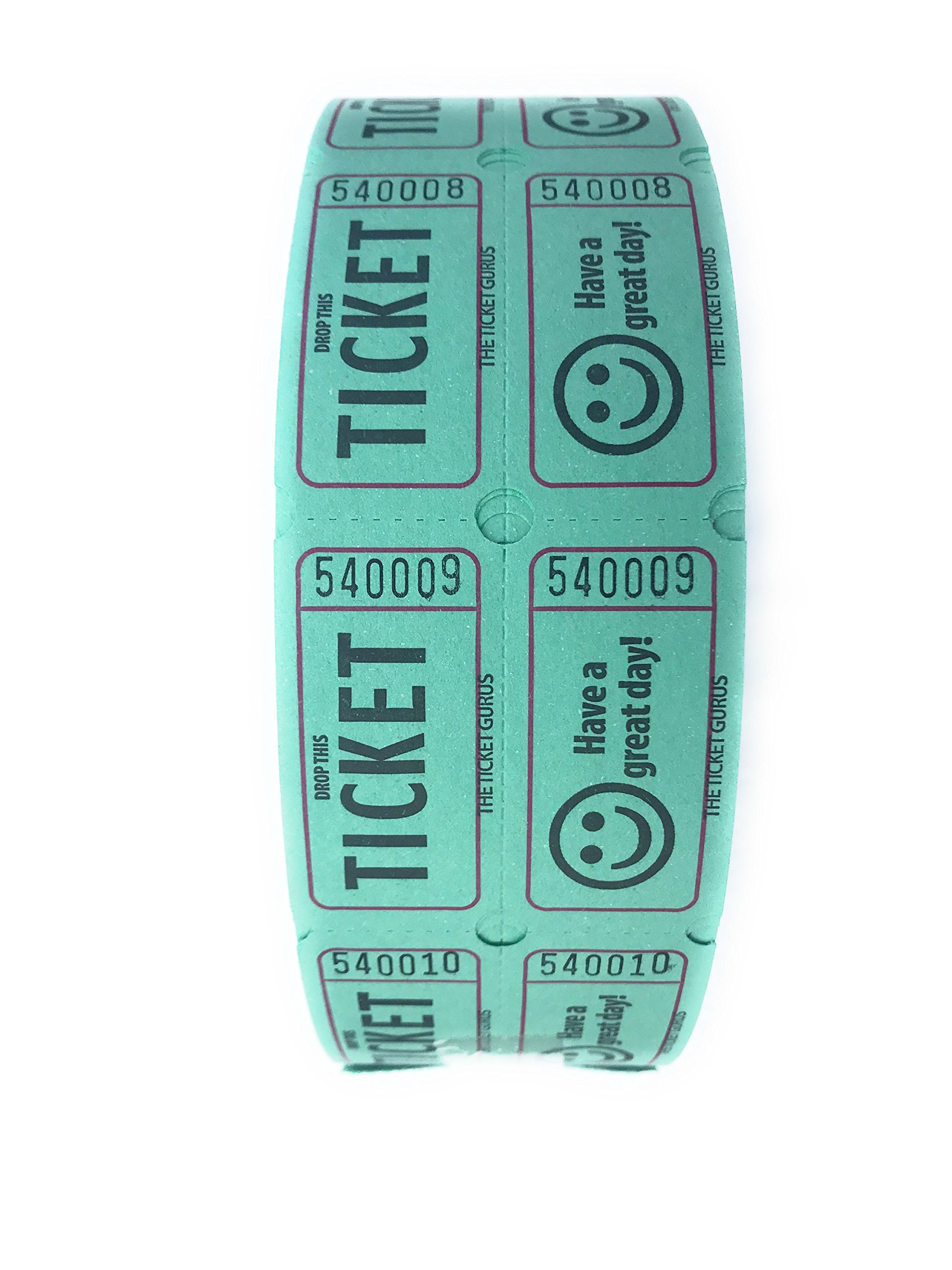 The Ticket Gurus DOUBLE SMILE raffle tickets-2000/roll (Green) by The Ticket Gurus