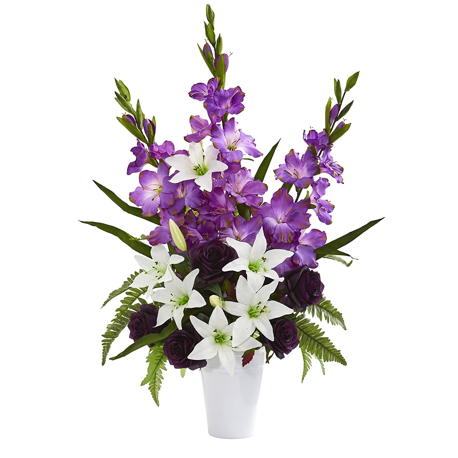 Nearly Natural 1662-PP Mixed Flowers Artificial White Vase Silk Arrangements Purple