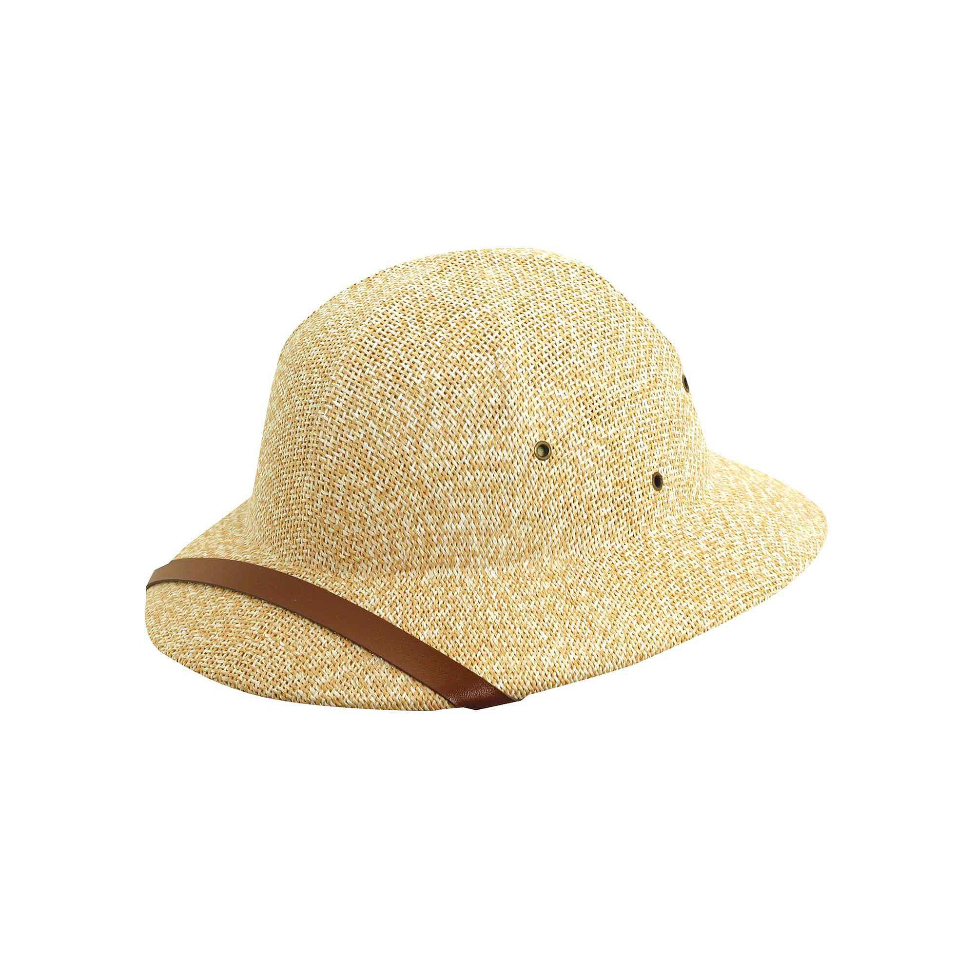 DPC Global Trends Men's Fine Twisted Toyo Pith Helmet, Tan/White, One Size