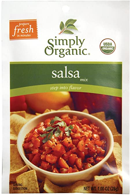 Amazon.com: Simply Organic Organic Dip Mixes Salsa Mix Certified Organic, 1-Ounce Packets (Pack of 12)
