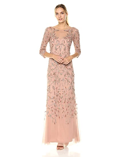 2bfec8989424c Adrianna Papell Women's Elbow Sleeve Dress Gown with Floral Scroll Beading  Special Occasion: Amazon.co.uk: Clothing