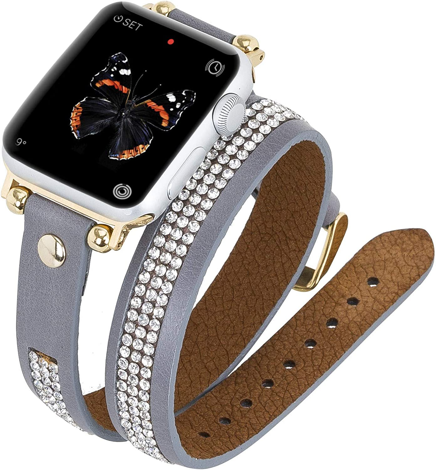 Venito Livorno Double Wrap Leather Slim Watch Band with Rhinestones Compatible w/Apple Watch Series 1, 2, 3, 4, 5, 6 with Stainless Steel Hardware (Gray w/Gold Connector & Clasp, 42mm-44mm)