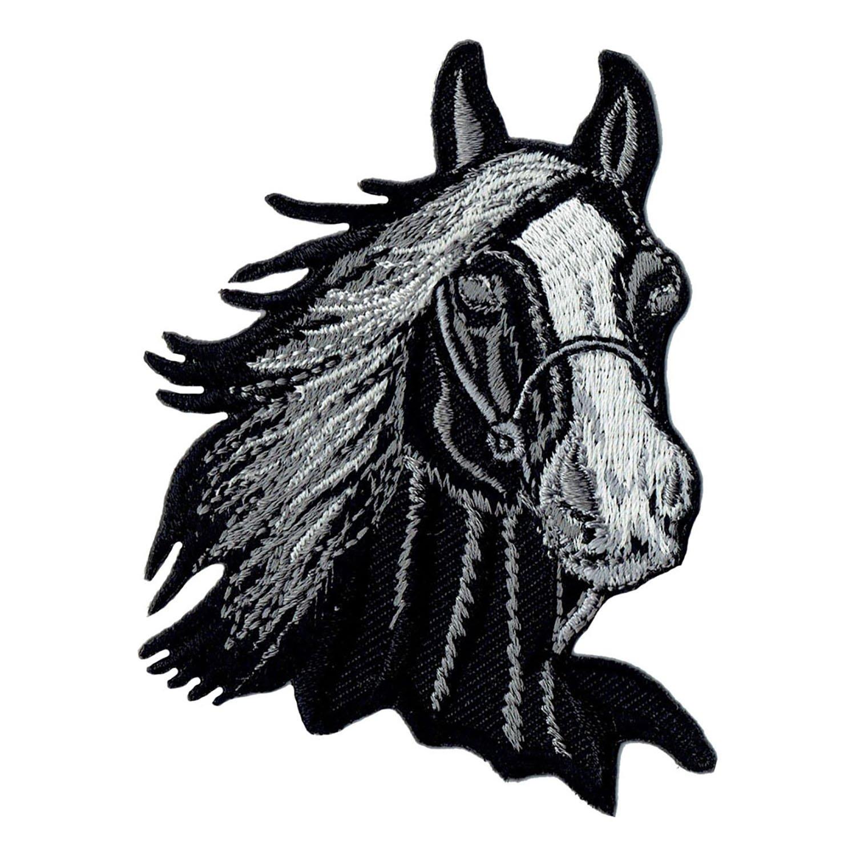 Aufn/äher B/ügelbild Aufb/ügler Iron on Patches Applikation Pferd Kopf reiten Pferdekopf