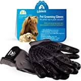4pawzz Premium Quality Pet Grooming Gloves Deshedding Brush for Dogs/Cats/Horses One Pair Removes Fur Massages and Cleans Ideal for Any Pet Short/Medium/Long Fur (Grey)