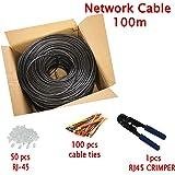 Multi-cable - Cat5e pour l'extérieur Utilisation CCA Câble Réseau Ethernet - 100 mètres avec un pince à sertir et attaches de câble - FTP - RJ46