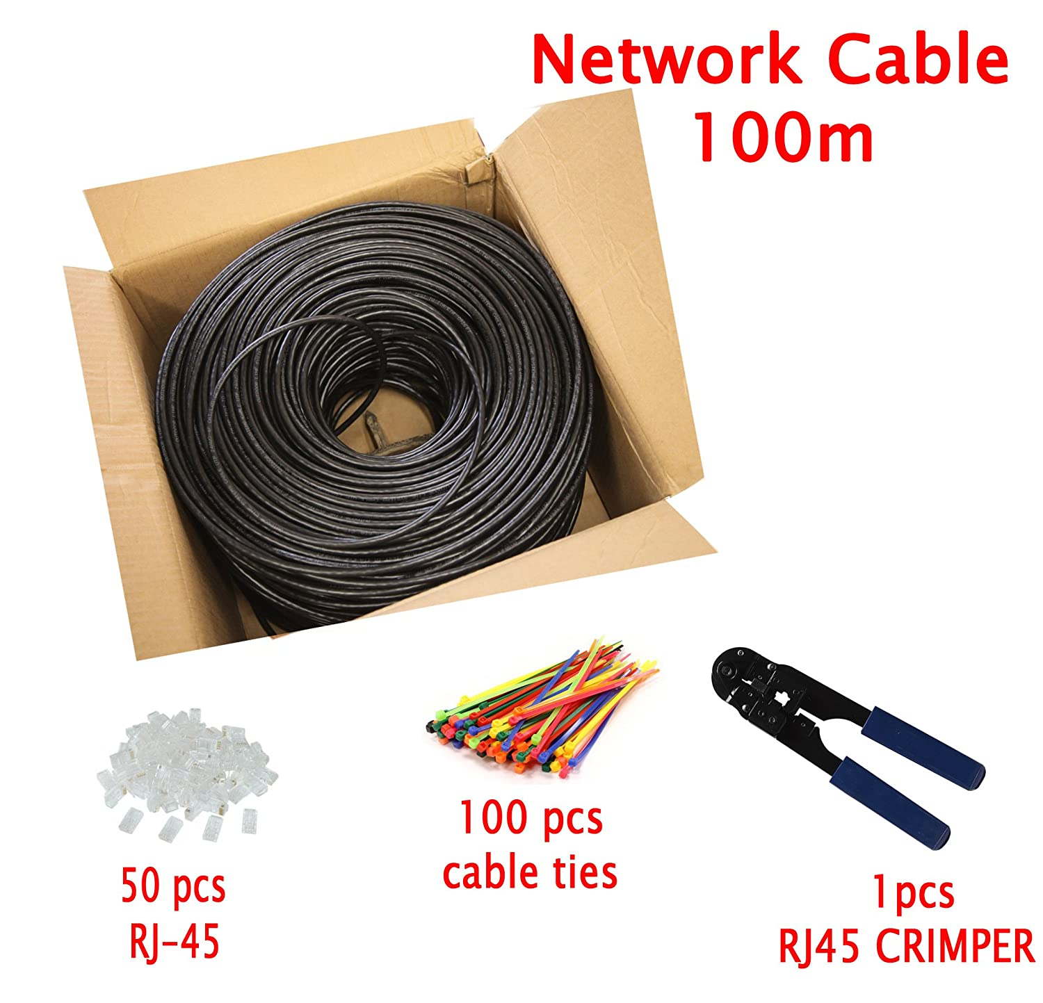Multi-cable Networking 50m Cat5E outdoor Direct Burial Ethernet Cable with RJ-45 Plug - FTP - CCA - Black - 50 meter MutecPower cat5ou1pk5