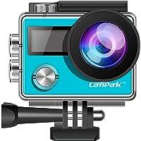Campark X20 Caméra d'action 4K 20MP avec écran Tactile EIS Angle de Vue réglable 30 m étanche avec télécommande Double Piles 1050 mAh et kit d'accessoires (Bleu)