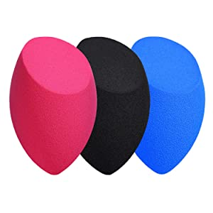 AQwzh makeup sponge set, wet and dry professional beauty cosmetic set (for foundation, concealer and liquid foundation), multi-color makeup sponge (Miter shape + 3 pieces)