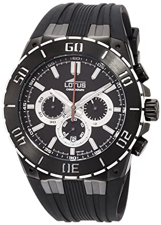 Lotus R Mens Quartz Watch with Black Dial Chronograph Display and Black Rubber Strap 15802/