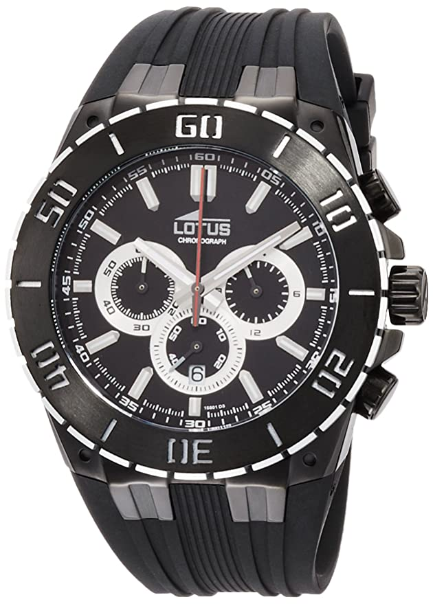 Amazon.com: Lotus R Mens Quartz Watch with Black Dial Chronograph Display and Black Rubber Strap 15802/3: Watches