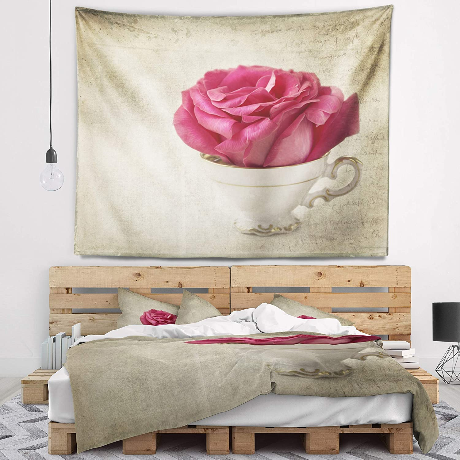 x 50 in Created On Lightweight Polyester Fabric 60 in Designart TAP14192-60-50  Red Rose in Cup Photography Floral Blanket D/écor Art for Home and Office Wall Tapestry Large