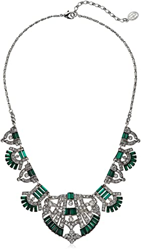 Ben-Amun Jewelry Swarovski Crystal Deco Emerald Fan Pendant Necklace For Bridal Wedding Anniversary