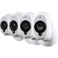 Swann SWWHD-INTCAMPK4 Smart Security Camera: 1080p Full HD Wireless with True Detect PIR Heat/Motion Sensor, Night Vision & Audio, White, Pack of 4